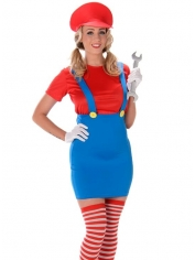 Red Plumber Girl - Women's Costume